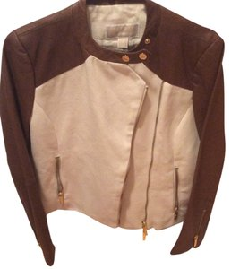 Michael Kors Brown and cream Leather Jacket