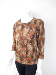 Chico's Chain Lace Shimmer Polka Dot Paillettes Shirt Top Brown