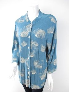 Coldwater Creek Blue Slinky Travel Knit Asian Inspired Artsy Cardigan 1x Sweater