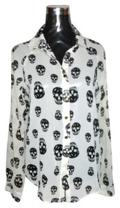 Other Skeleton Button Up Top Ivory Black Skulls