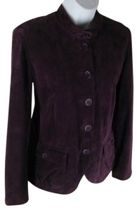 Cache Suede Fitted Lined Purple Leather Jacket