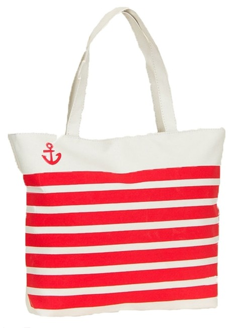 Item - Nautical Anchor - Red Striped Canvas Tote