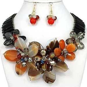 Other Multicolor Gold Plated Gemstone Statement Necklace and Earring
