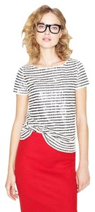 J.Crew Ivory Sequin Striped T Shirt ivory, navy