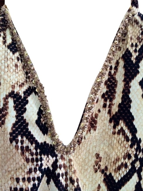 Item - Tan/Snakeskin Luxe Sexy with Swarovski Crystal Embellishment One-piece Bathing Suit Size 8 (M)