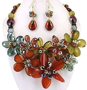 Multicolor Gold Plated Gemstone Statement Necklace and Earring