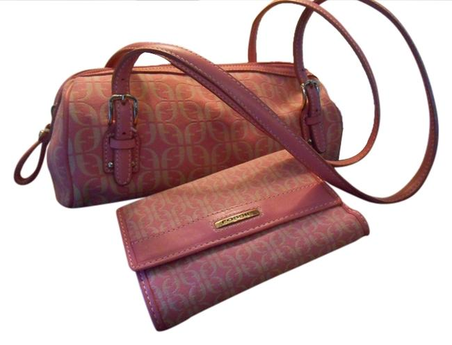 Item - Purse-and-wallet Signature Print Pink and Cream Fabric Leather Satchel