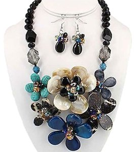Multicolor Rhodium Plated Gemstone Statement Necklace and Earring