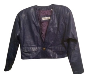 Evan Davies Vintage Leather Cropped purple/blue Leather Jacket