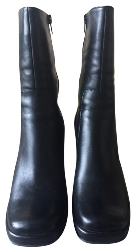 ALDO Black Leather High Heel Leather Black Boots/Booties 74917b