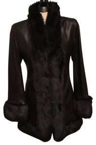 Pelle Studio Luxury Leather Faux Fur Trim Coat