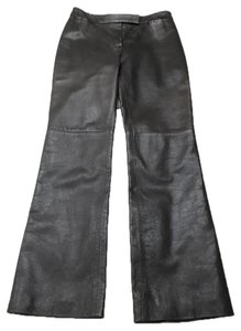 Lanvin Soft Leather Seam Detail Boot Cut Pants Brown