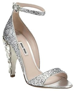 9cc8502b08cd Silver Miu Miu Sandals - Up to 90% off at Tradesy