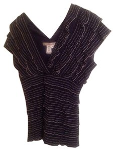 Studio M Top Black Pin Stripe