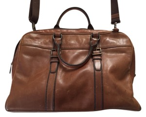 Fossil Leather Work Brown Messenger Bag