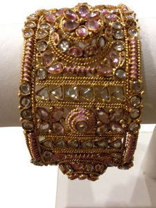 Indian Rose Gold Cuff Persian Cuff Bracelet Swarovski Crystal and Rose Gold Over Silver