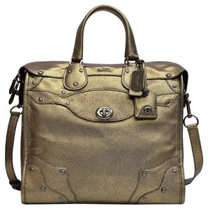 Coach Rhyder Rhyder 33 33740 Convertible Metallic Leather Satchel in metallic Brass