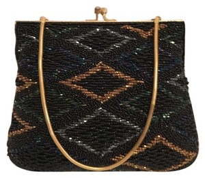 Walbarg Vintage Glass Beaded Evening Boutique Black Gold Multi Clutch