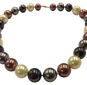 Chinese Cultured Pearls Genuine Large Round Chinese Cultured Pearl Necklace With 14K Gold Clasp