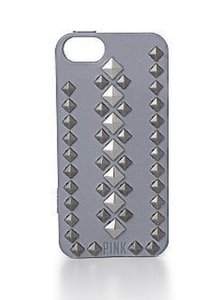 PINK PINK by Victoria's Secret Gray Silver metallic Studs iPhone Jelly case cover iPhone 5/5S