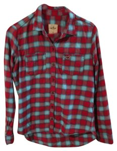 Hollister Button Down Shirt Red & Aqua