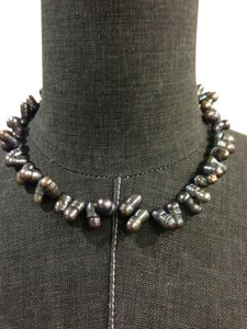 Genuine Black Chinese Freshwater Cultured Pearls with 14K White Gold Clasp