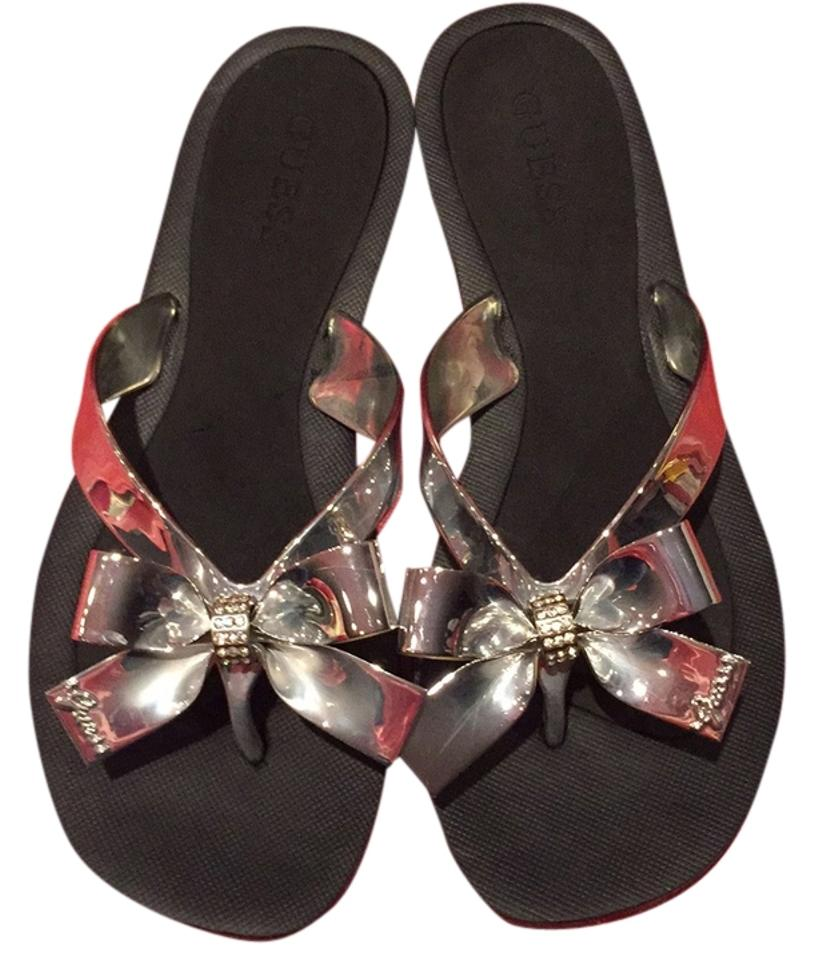 3e812efb0434 Guess Black Silver Bow Thong Sandals. Size  US 7 Regular (M ...
