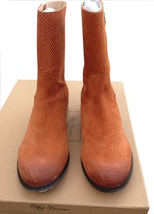 Matt Bernson Inside Zipper Wood Heel Cognac Boots