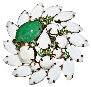 Macy's Beautiful White and Green Brooch