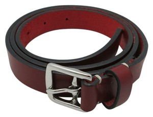 Coach Coach belt Red 8566 leather Silver tone buckle