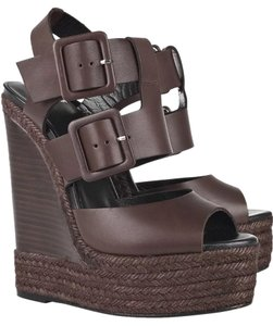 Pierre Hardy Leather Buckle Sandal Espadrille Brown Wedges
