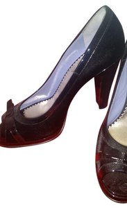 Marc by Marc Jacobs Patent Leather Velvet Open Toe Bin 2174 Black Pumps