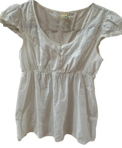 Roxy Peasant Pretty Cap Sleeves Flowers Embroidered Top White