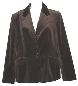 Ellen Tracy Velvet Cotton BROWN Blazer