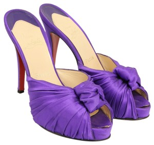 Christian Louboutin Ruching Knot Peep Toe Satin Purple Mules