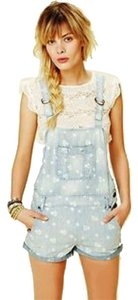 Free People Overalls Denim Daisy Floral Dress