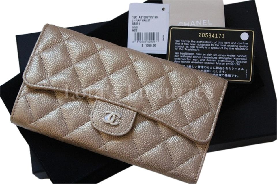 0ceb550a1a0d Chanel gold classic flap clutch quilted pearly bag purse full set wallet  jpg 960x638 With chanel