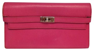 Hermès Hermes #3861 Pink Chevre Leather Kelly flap bifold Wallet Zip Zippy Pocket Bill Holder Card Case Coin Purse