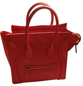 Céline Gold Hard Wear Including Dust Certificate Included Orange Leather Interior Tote in Bright orange
