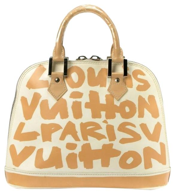 Item - Graffiti Alma Sprouse Limited Edition White & Tan Patent Leather Tote