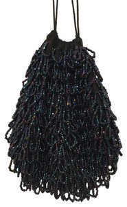 Other Glass Beads Hand Made Evening Drawstring Wristlet Black Blue Purpleish Pink (Multi) Clutch
