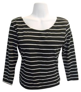Divided by H&M Scoop Scoop Striped & Shirt Office Casual Basic Medium 8 10 Med Stretch T Shirt Black and White
