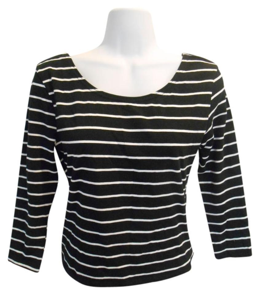 374f425c61c1 Divided by H&M Black and White Scoop Front Stripe Medium Tee Shirt ...