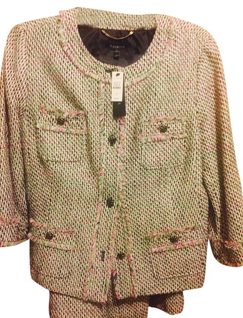 Item - Pink/Green Multi>tweed W Tweed Blazed W/Matching Skirt Suit Size 16 (XL, Plus 0x)