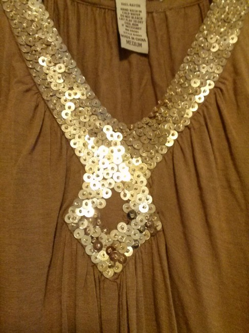 Forever 21 Party Cocktail Sparkle Sequin Top Brown and gold