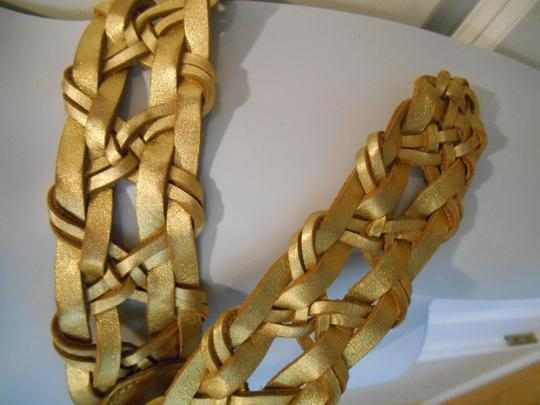 Hollister Gold Woven Real Leather Belt 41 inches XS S Hollister