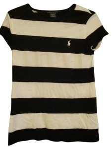 Ralph Lauren Polo Stripes Striped T Shirt Black and white