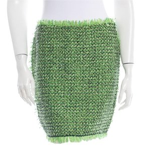 Lanvin Tweed Neon Summer 2012 Green Black Mini Skirt Neon Green