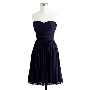 J.Crew Navy Silk Chiffon Arabelle Formal Bridesmaid/Mob Dress Size 4 (S)