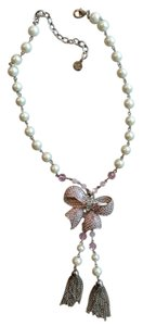 Graziano Pink Crystal bow and Pearl necklace